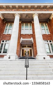 ROME, GA, USA - SEPTEMBER 19, 2018: Rome City Hall and Auditorium was built in 1914. which features the Capitoline Wolf and home to the Rome Symphony Orchestra. The statue was a gift from Mussolini.