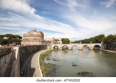 Rome. Image of the Castle of Holy Angel and Holy Angel Bridge over the Tiber River in Rome