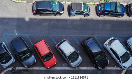 Rome / Italy - 02 07 2018: Capital of Italy. The street in Rome is full of cars. The problem of parking places. Lack of parking space. Carelessly parked cars. Traffic problems. Top view