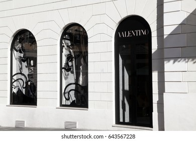 Rome, ITALY - 02 May 2017: Valentino store at downtown of Rome, Italy. Fashion brand.