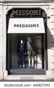 Rome, ITALY - 02 May 2017: Shop window of Missoni store fashion brand at Piazza di Spagna in Rome Italy