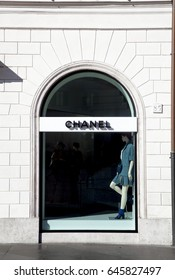 Rome, ITALY - 02 May 2017: Shop window of Chanel store fashion brand at Piazza di Spagna in Rome Italy