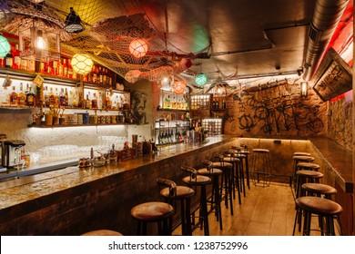 Rome, Italy, 02.03.2018: the interior of the Tiki bar