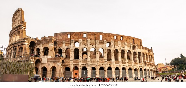 Rome, Italy - 03/02/2019: Exterior of the Colosseum, famous for shows with gladiators in the Roman Empire, inserted in the new seven wonders of the world.