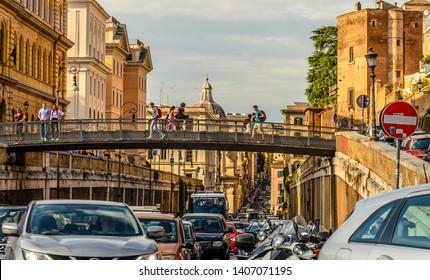 ROME, ITALY 04 OUTUBRO 2018;Streets of Rome, traffic jam on the street Via Degli Annibaldi in the coloseum neighborhood.
