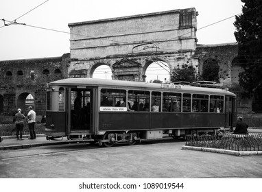 "Rome, Italy, 04/11/2018: an old tram from the historic Atac collection in Rome waiting to leave again at the ""Porta Maggiore"" stop on Via Casilina in Rome."