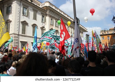 Rome Italy 04/18/2015 Manifestation of syndicate trade unions