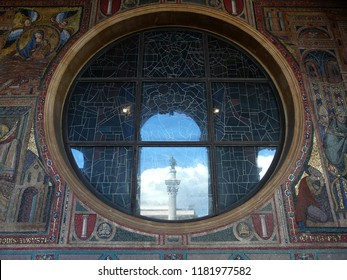 Rome / Italy - 04.19.2017: Basilica of Santa Maria Maggiore. A window-socket with the reflection of the column of the Virgin Mary.