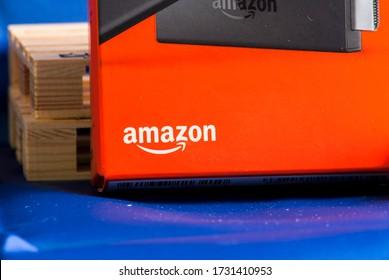 Rome, Italy 05 14 2020: Amazon logo on the Fire TV Stick box