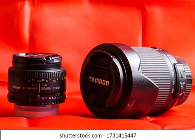 Rome, Italy 05 14 2020: photographic lenses: nikkor 50mm and Tamron 70-300mm