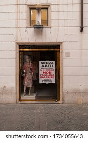 Rome, Italy 05 16 2020: Shops and shopkeepers in crisis due to the lockdown due to covid19