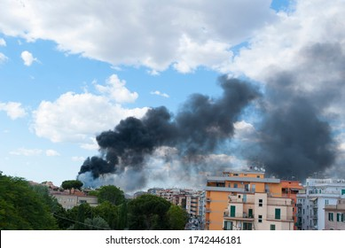 Rome, Italy 05 27 2020: Fire in the Centocelle district in Rome