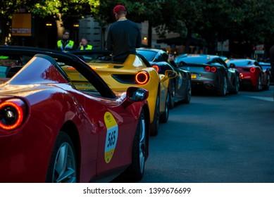 Rome, Italy - 05-16-2019: Ferrari alla 1000 Miglia