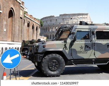 Rome, Italy -  06/04/2017: Military Support surrounding the Colosseum to protect Tourists. National Security issue of all Tourism Establishments