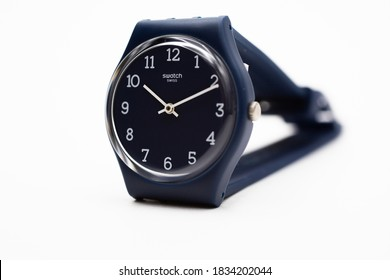 Rome, Italy 07.10.2020 - Swatch swiss made quartz watch isolated on white background. simple straightforward design. Swatch Group watch production