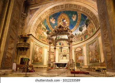 Rome, Italy - 07.22.17: interior of The Basilica of the Holy Cross in Jerusalem or Basilica di Santa Croce in Gerusalemme