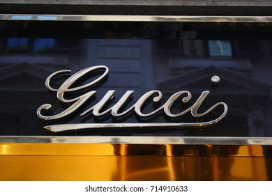 Rome, Italy - 08.09.2017: the brand sign on the Gucci store.