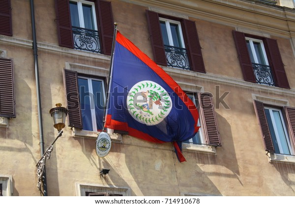 Rome, Italy - 08.09.2017: the Embassy of Belize building in Rome, with a national flag.