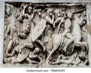 Rome, Italy - 08/13/2012 - Rome, Italy - Roman Forum - Arch of Constantine Frieze