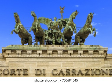 Rome, Italy - 08/13/2012 - Rome, Italy - Supreme Court of Cassation (Italy) -  Chariot with Eagle Standard and Horses