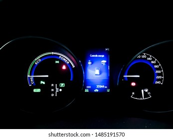 Rome, Italy - 08-22-2019: Toyota Auris hybrid car dashboard