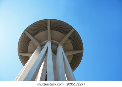 """""""Rome, Italy - 09 02 2021"""" Il Fungo (The Mushroom), a modern architecture restaurant situated in the EUR district of Rome. High panoramic concrete structure."""