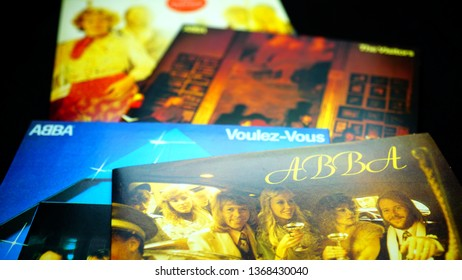 Rome, Italy: 09 April 2019: CD albums of the famous Swedish group ABBA. Their total sales estimates are between 140 and 500 million records worldwide