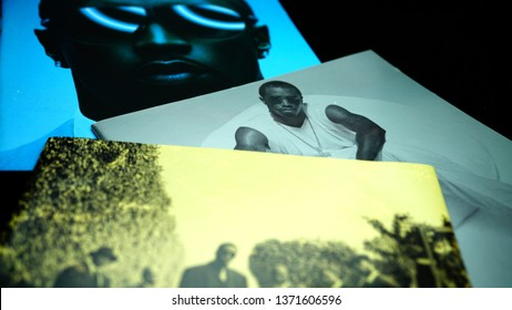 Rome, Italy: 09 April 2019: CD albums of the famous American rapper, singer, record executive, actor, record producer, and entrepreneur Puff Daddy. has won three Grammy Awards and two MTV Awards