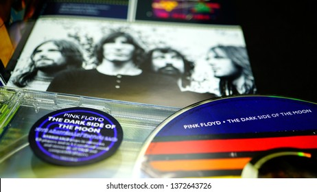 Rome, Italy: 09 April 2019: CD album of the famous English rock band PINK FLOYD. detail of the special edition for the thirtieth anniversary of the album DARK SIDE OF THE MOON