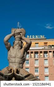 Rome, Italy - 09-10-2019: The Triton Fountain in the Piazza Barberini, by Gian Lorenzo Bernini