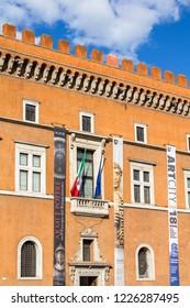 Rome, Italy - 09/25/18: Benito Mussolini's balcony in Rome
