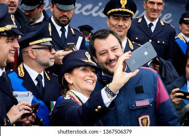 Rome, Italy - 10 April 2019: Interior Minister Matteo Salvini takes a selfie with police officers during the 167th anniversary of the State Police.