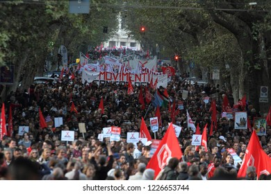 Rome, Italy - 10 November 2018: The national demonstration organized by the #individual network against the government, against racism and the Salvini Sicurezza decree crosses via Merulana