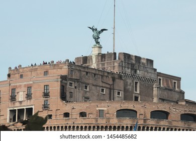 Rome, Italy, 10/25/2015 Illustrative Editorial Angel sculpture with a spear on the highest point of the castle of the Holy Angel