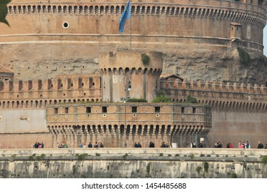 Rome, Italy, 10/25/2015 Illustrative Editorial Corner tower of the castle of the Holy Angel with the flag of the European Union, closeup.