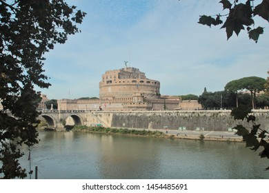 Rome, Italy, 10/25/2015 Illustrative Editorial The river Tiber and the castle of the holy angel on the other side, a panoramic view of the ancient building