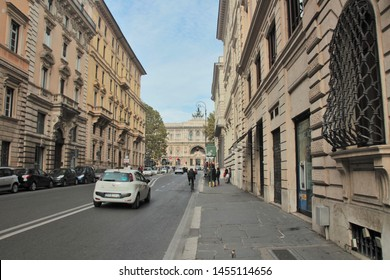 Rome, Italy, 10/25/2015 Illustrative Editorial. The street (Via Giuseppe Zanardelli) that leads from square Navona to the embankment of the Tiber River, street photography.