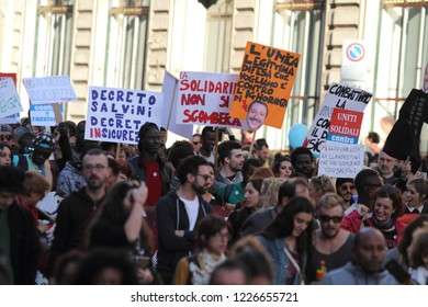 Rome, Italy - 10th november 2018: The national demonstratiorn organized by the #indivisible network against the government, against racism and the Salvini Sicurezza decree