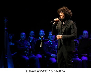 Rome, Italy - 11 December 2017: the singer Francesco Renga on the stage of the Auditorium Parco della Musica, on the occasion of the concert of the State Police Band.