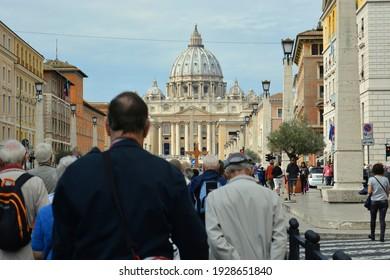 Rome, Italy - 11.10.2016 : Visitors sightseeing St. Peter Basilica at Vatican