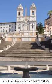ROME, ITALY - 12 March 2020:  Popular tourist spot of the Spanish Steps appear deserted following the nationwide coronavirus pandemic confinement measures in Rome, Italy.
