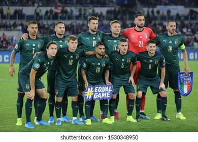 ROME, ITALY - 12 OCTOBER 2019: Italy team with green soccer jersey, during the official photo in the UEFA Euro 2020 qualifier match between Italy and Greece, group j on October 12, 2019 in Rome, Italy