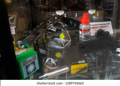 Rome, Italy, 12/28/2018: air gun and munition for Softair in free sale in an armory in Rome