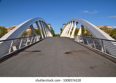 ROME, ITALY - 13 APRIL 2014 - The Music Bridge (in italian Ponte della Musica - Armando Trovajoli) is a modern bridge of Rome on the Tiber river, in the district Flaminio, beside the Auditorium