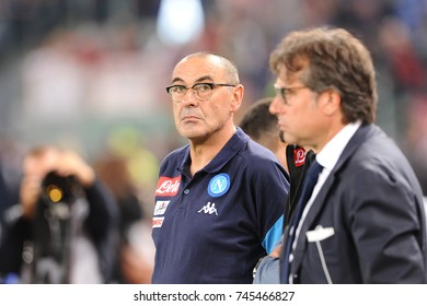 Rome, Italy, 14 October 2017: Maurizio Sarri coach of SSC NAPOLI in action during fotball match serie A League 2017/2018 between AS ROMA vs SSC NAPOLI at Olimpic stadium.