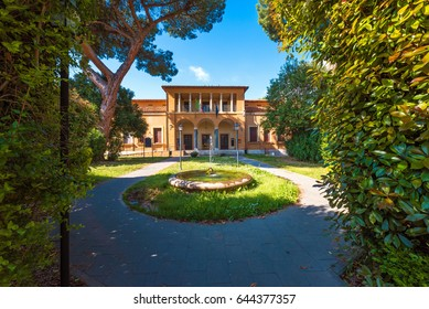 ROME, ITALY - 15 APRIL 2017 - The suggestive popular Garbatella quarter in Ostiense district, an agglomeration in Rococo style with gardens and the famous modern bridge named Settimia Spizzichino