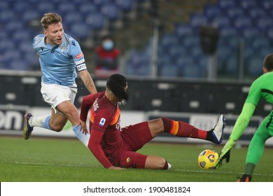 ROME, Italy - 15.01.2021: Ciro Immobile (LAZIO), SMILLING in action during  the derby in the Italian Serie A league 2020-2021 soccer match between SS LAZIO vs AS ROMA , at Olympic stadium in Rome.
