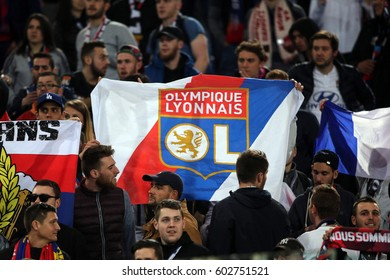 Rome, Italy 16 March, 2017: Lyonnais Supporters on the tribune during the  Uefa  league match between A.s. Roma vs Olympique Lyonnais  at Olympic Stadium in Rome on March, 2017