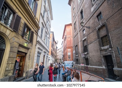 Rome, Italy. 16 May 2017 : People walk on the street in the city of Rome, the capital city of Italy. It is famous for art, architecture and culture