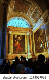 ROME, ITALY - 17 November 2012. An interior view from Church of St. Louis of the French in Rome. The church is having some Caravaggio paintings.